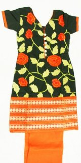 パンジャビドレス:クルタ・サルワールS ブラック&オレンジ