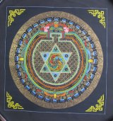 手描きタンカ:六芒星マントラ〜ヘキサグラムマントラ
