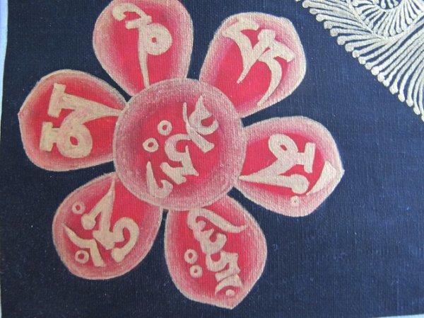 画像4: 手描きタンカ:マントラ 曼荼羅