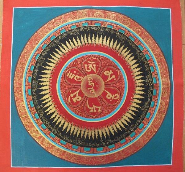 画像1: 手描きタンカ:マントラ曼荼羅