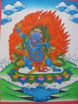 手描きタンカ:バジュラパニ(金剛薩埵)