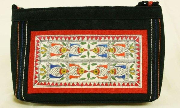 画像1: バッグ:シルクハンドバッグ ブラック マドゥバニ(ミティラー)