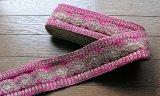 インディアンリボンレース:ピンク&ゴールド ペイズリー 郵送OK