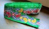 インディアンリボンレース:グリーン刺繍 ペイズリー 郵送OK