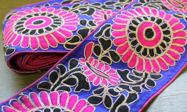 画像1: インディアンリボンレース:花 ピンク&青 郵送OK