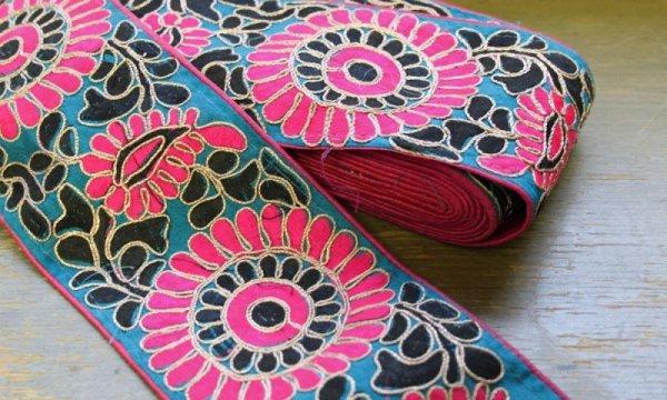 画像1: インディアンリボンレース:花 ピンク&水色 郵送OK