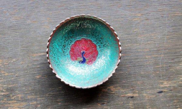 画像1: 真鍮 ブラスプレート くじゃくミドリ