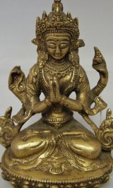 ネパール 真鍮 六字咒観音菩薩 6インチ