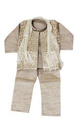 子供用 クルタパジャマ 4点セット サイズ90〜100相当 :ベージュ