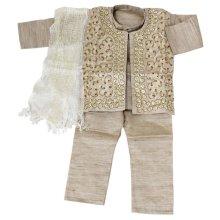 他の写真2: 子供用 クルタパジャマ 4点セット サイズ90〜100相当 :ベージュ