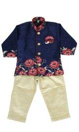 子供用 クルタパジャマ スーツ 90サイズ相当(インド表記0):ブルー&ベージュ