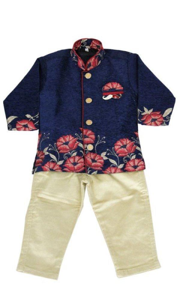 画像1: 子供用 クルタパジャマ スーツ 90サイズ相当(インド表記0):ブルー&ベージュ