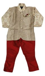 子供用 クルタパジャマ スーツ 100サイズ相当(インド表記1):ベージュ&エンジ