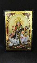インド ヒンズー神フレーム 学問と芸術の女神サラスヴァティー