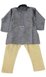 子供用 クルタパジャマ 100サイズ相当(インド表記1):ダークグレー&ベージュ