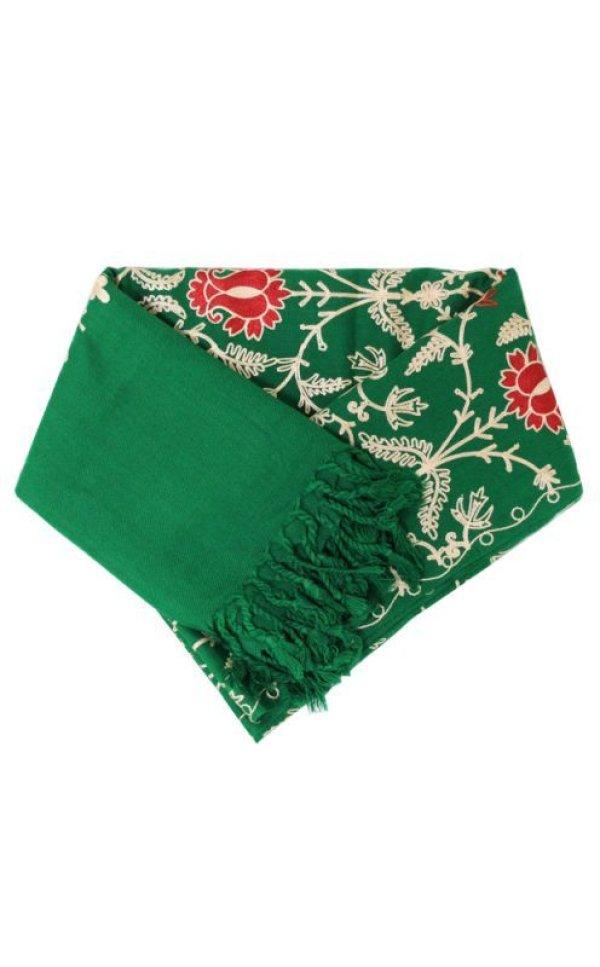 画像1: カシミール刺繍 ストール:グリーン