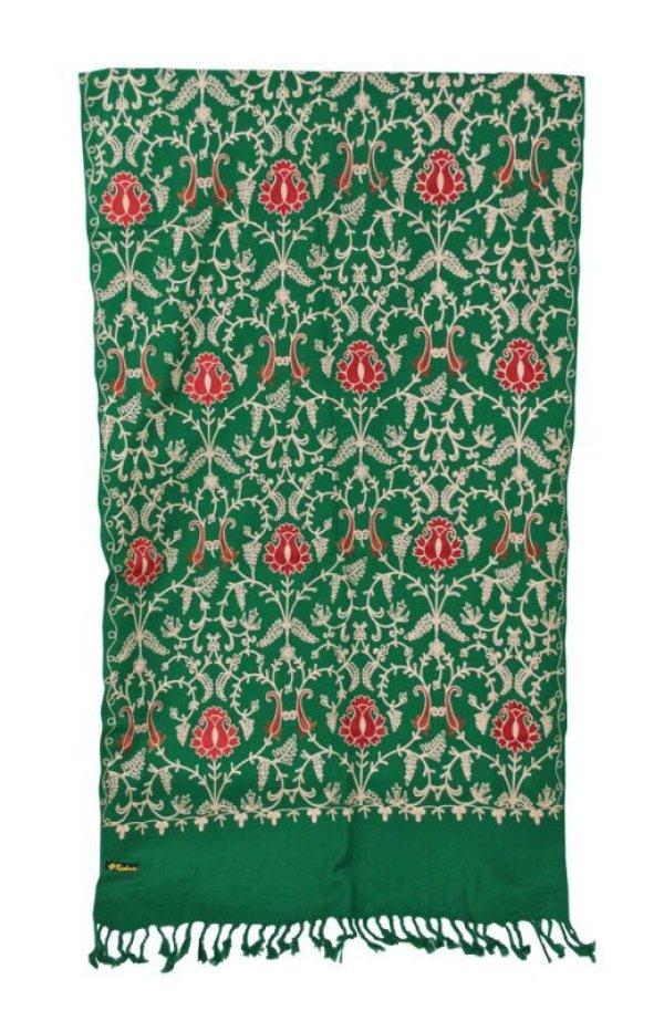 画像3: カシミール刺繍 ストール:グリーン