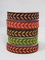 インディアンリボンレース:リーフ 各ムラサキ、ピンク、ブラウン、抹茶グリーン、ダークレッド