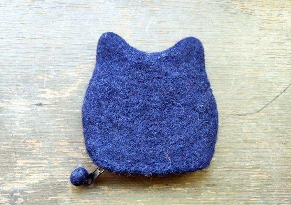 画像4: バッグ:ネパールフェルト猫ポーチ ネイビー