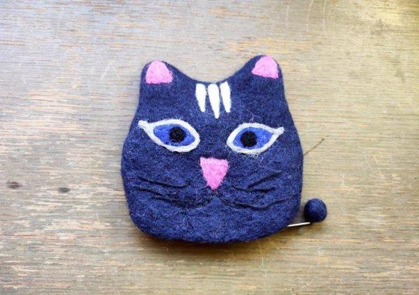 画像1: バッグ:ネパールフェルト猫ポーチ ネイビー