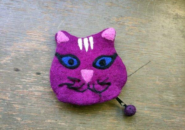 画像1: バッグ:ネパールフェルト猫ポーチ ムラサキ