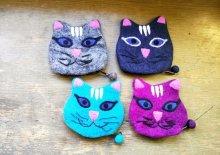 他の写真1: バッグ:ネパールフェルト猫ポーチ ネイビー