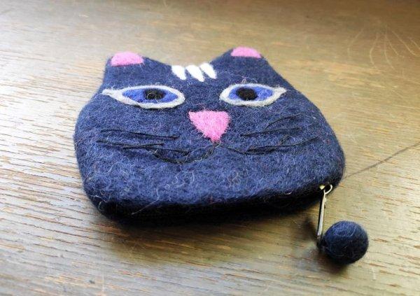 画像2: バッグ:ネパールフェルト猫ポーチ ネイビー