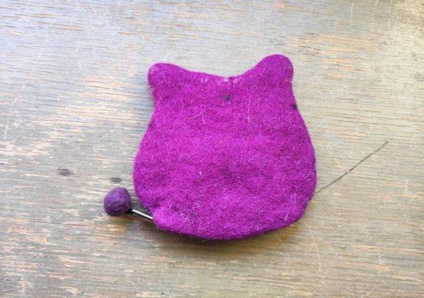 画像4: バッグ:ネパールフェルト猫ポーチ ムラサキ