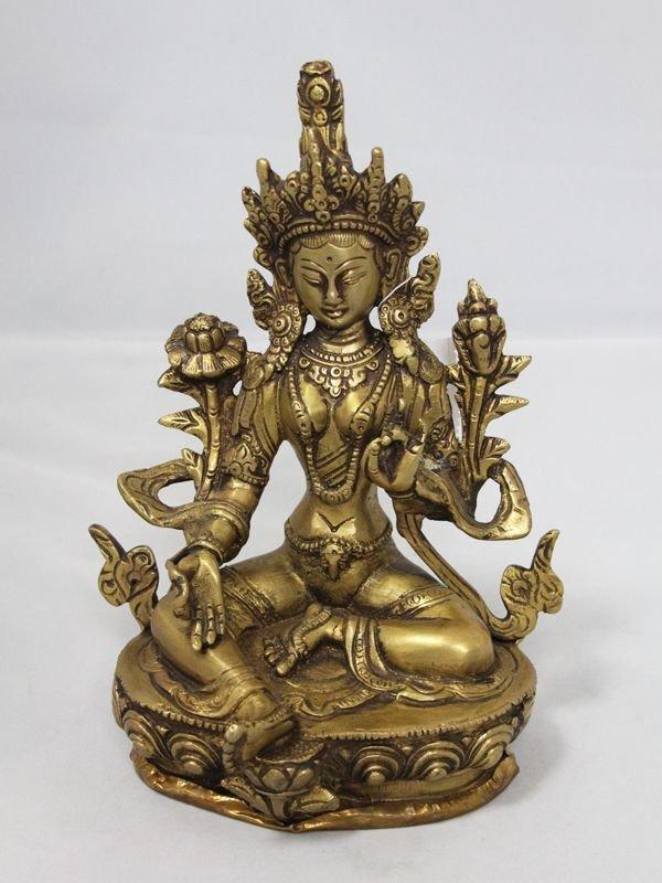 画像1: ネパール 真鍮 グリーンターラー(カディラヴァニーターラー)8インチ