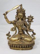 ネパール 真鍮 マンジュシュリー (文殊師利菩薩)8インチ