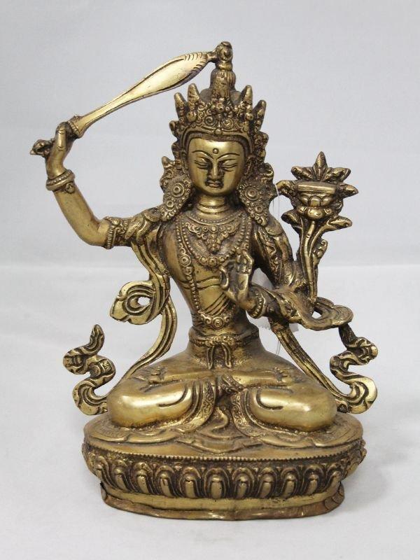 画像1: ネパール 真鍮 マンジュシュリー (文殊師利菩薩)8インチ