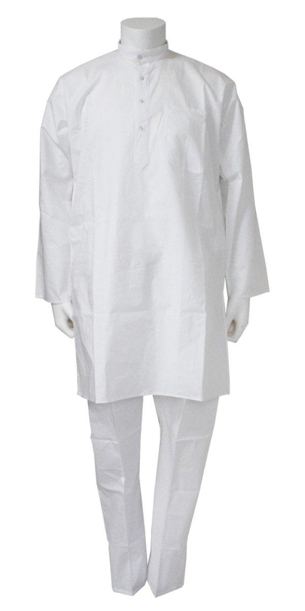 画像1: 再入荷 SALE! クルタ・パジャマ:ホワイト 各S、S〜M、M(インド表記40、42、44)
