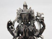 他の写真1: ネパール ブロンズ・シルバー アヴァロキテシュワラ(六字咒観音菩薩)4インチ
