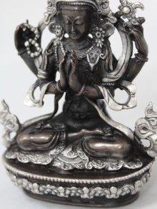 他の写真2: ネパール ブロンズ・シルバー アヴァロキテシュワラ(六字咒観音菩薩)4インチ