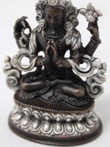他の写真2: ネパール ブロンズ・シルバー アヴァロキテシュワラ(六字咒観音菩薩)3インチ