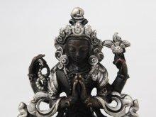 他の写真1: ネパール ブロンズ・シルバー アヴァロキテシュワラ(六字咒観音菩薩)3インチ