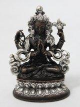ネパール ブロンズ・シルバー アヴァロキテシュワラ(六字咒観音菩薩)3インチ
