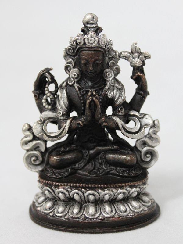 画像1: ネパール ブロンズ・シルバー アヴァロキテシュワラ(六字咒観音菩薩)3インチ