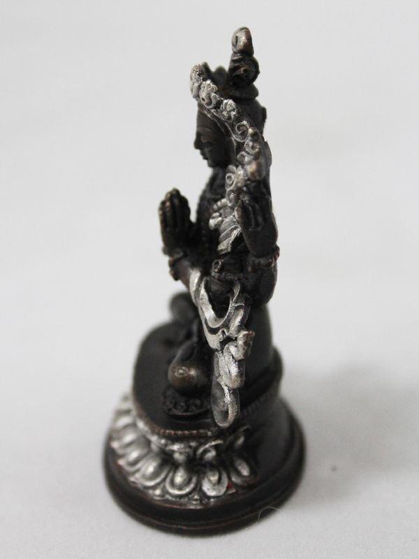 画像3: ネパール ブロンズ・シルバー アヴァロキテシュワラ(六字咒観音菩薩)3インチ