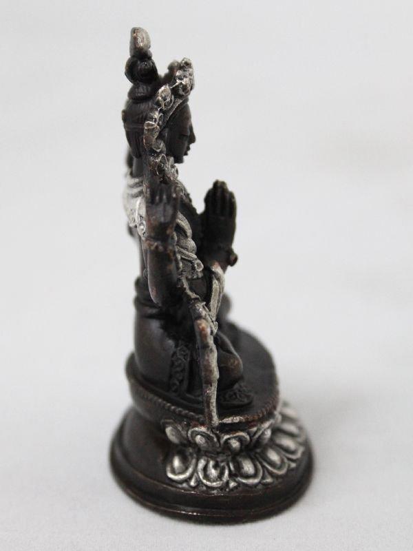 画像5: ネパール ブロンズ・シルバー アヴァロキテシュワラ(六字咒観音菩薩)3インチ