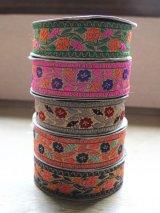 インディアンリボンレース:花 各グリーン、パッションピンク、グレー、ピンク、ネイビー