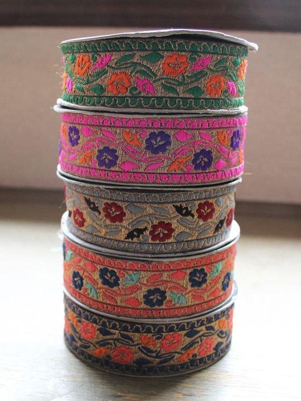 画像1: インディアンリボンレース:花 各グリーン、パッションピンク、グレー、ピンク、ネイビー